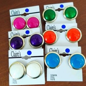 Six Pairs! Claire's deadstock fun colorful  bundle